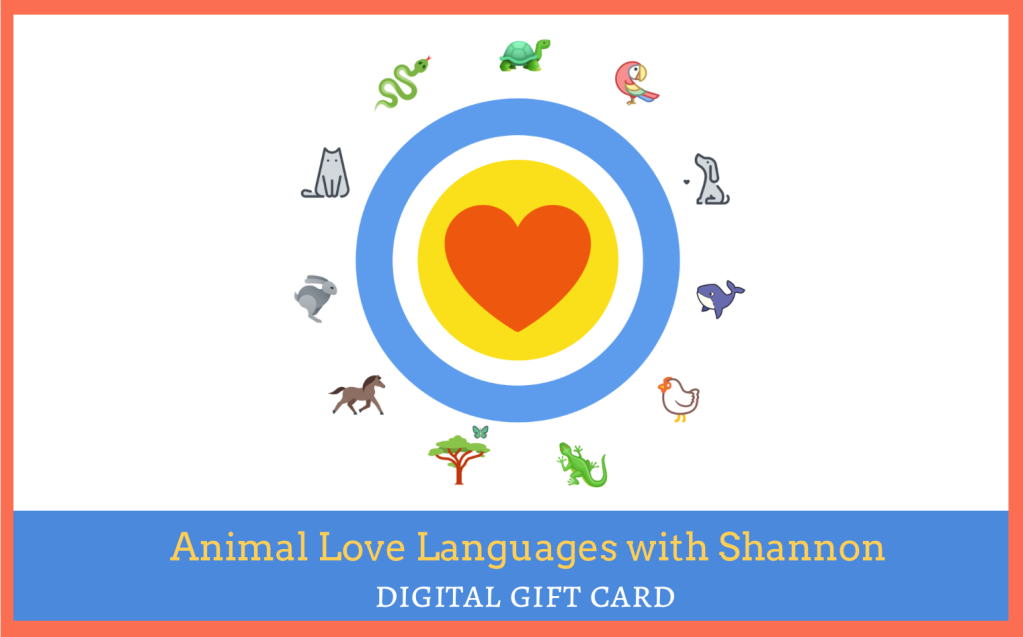 Digital gift cards for Reiki and animal communication with Shannon Cutts of Animal Love Languages