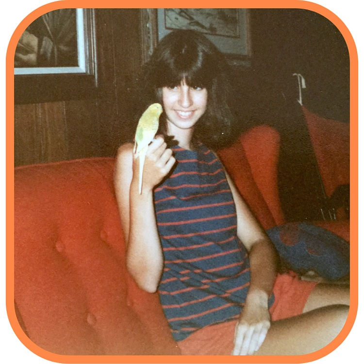 Animal communicator Shannon Cutts with Perky the parakeet